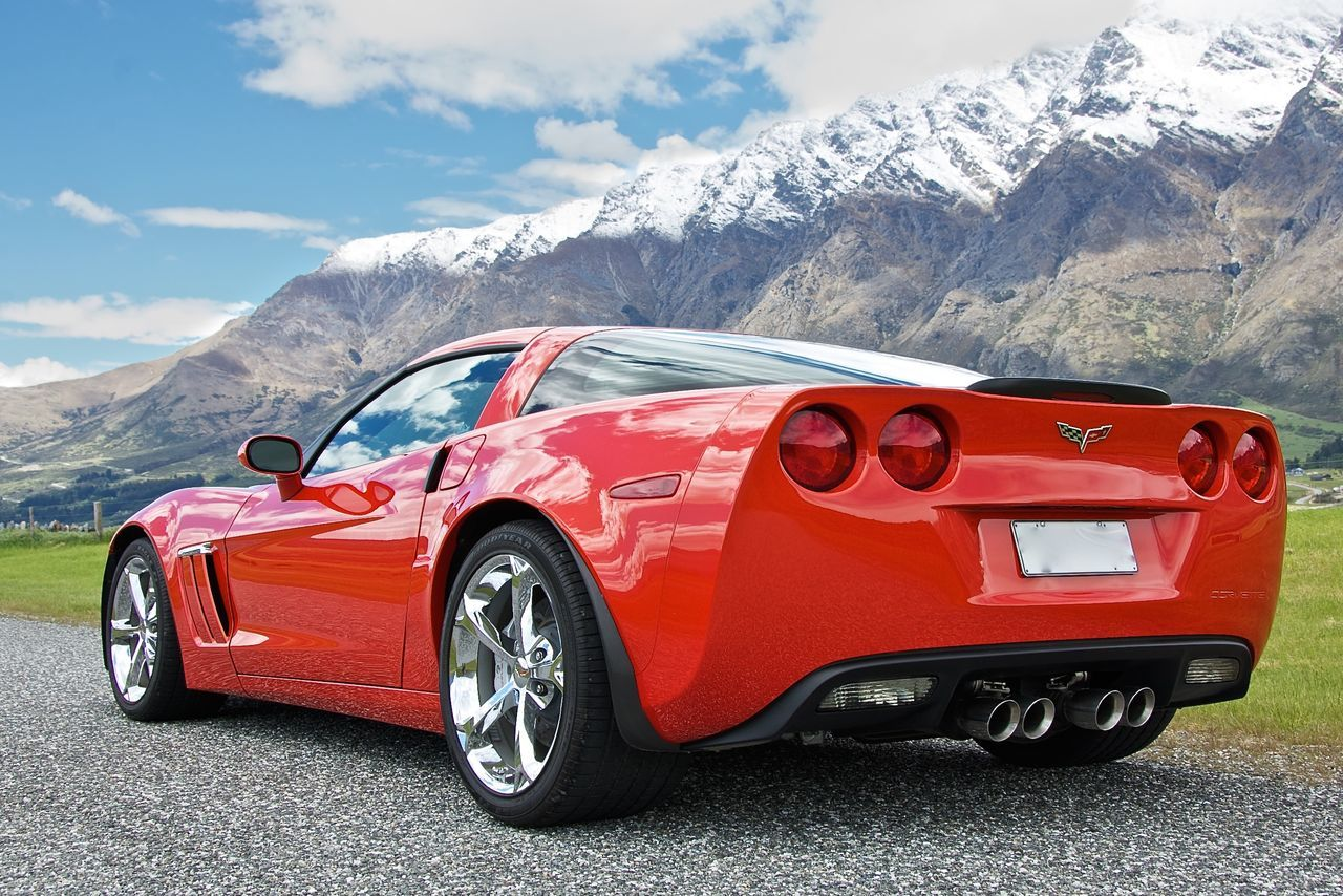 2011 Corvette 2011 Corvette Corvette Landscape Mountain Range Non-urban Scene Outdoors Red Corvette Snowcapped Mountain The Remarkables