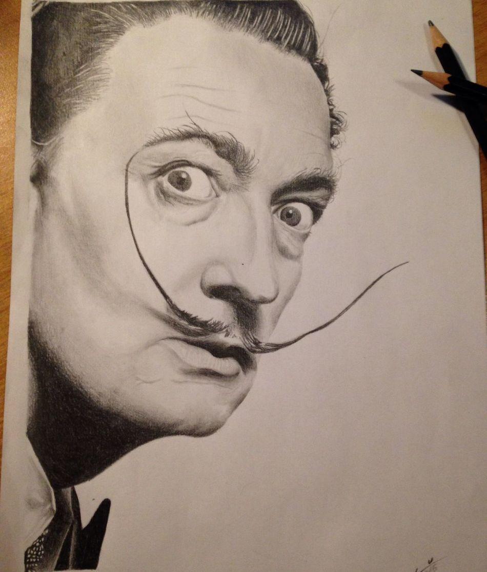 Salvador Dali Dalí Graffite Realisticdrawing Blackandgrey Realistic Blackandgray Drawing Draw