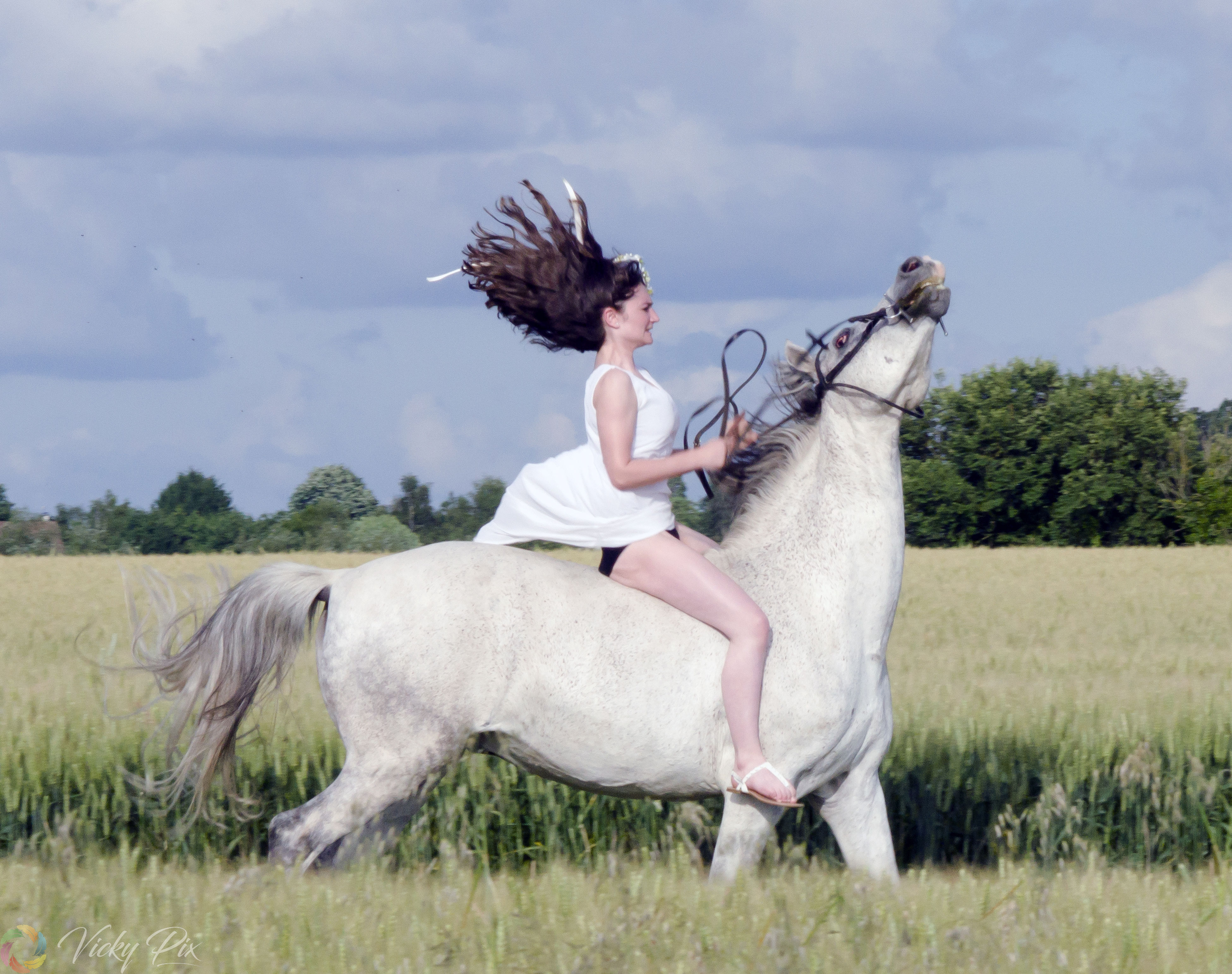 horse, one animal, animal themes, one person, mammal, field, domestic animals, horseback riding, leisure activity, riding, outdoors, day, grass, real people, livestock, cloud - sky, sky, side view, full length, tree, happiness, sitting, nature, lifestyles, young adult, beautiful woman, young women, people