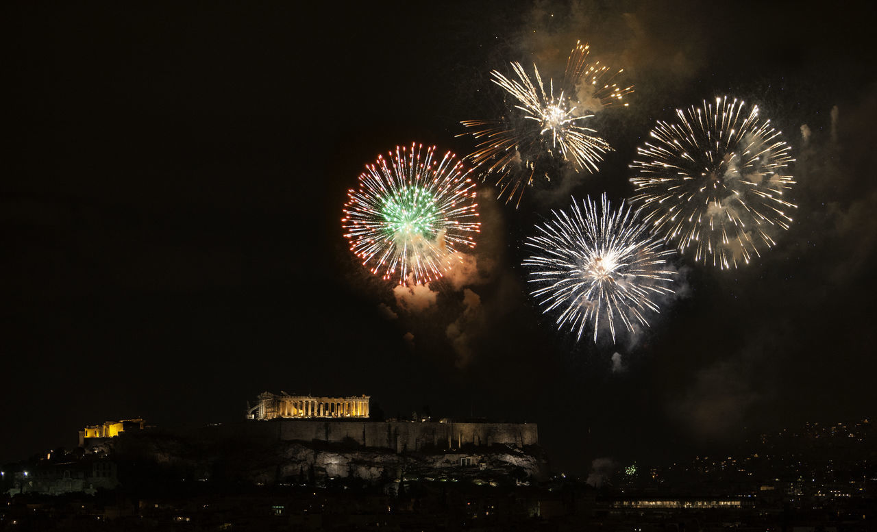 Athens, Greece welcomes 2017 Happy New Year! Acropolis Arts Culture And Entertainment Athens Celebration City Event Firework Firework - Man Made Object Firework Display Illuminated Low Angle View Midnight Multi Colored NewYear Night No People Outdoors Sky