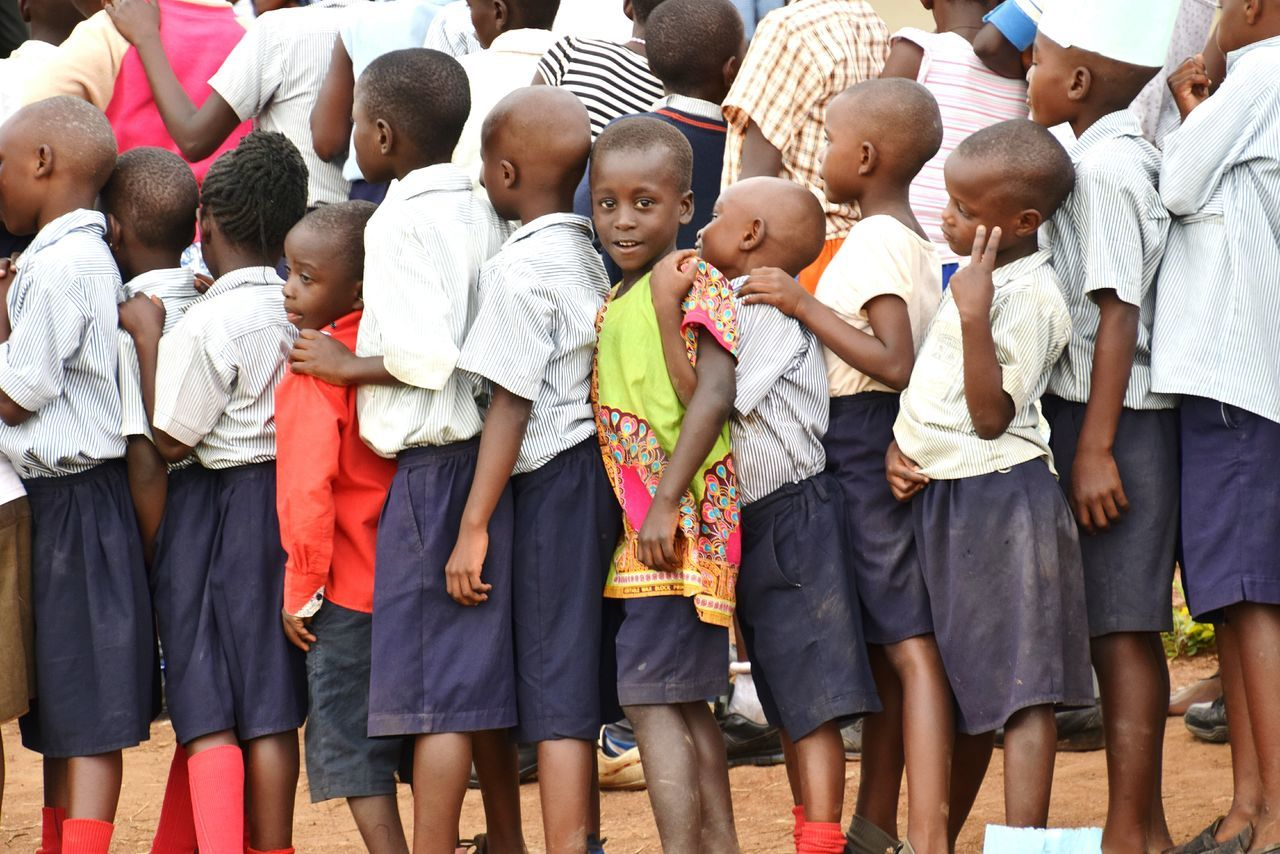 Baby Togetherness People Child Childhood Large Group Of People Adult Girls Community Day Outdoors School Portrait Students Life Students Mpara Uganda