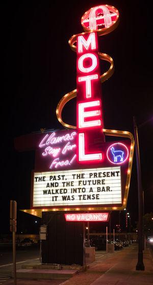Ad Funny Funny Story Joke No Vacancy Past Past, Present, Future Bar Future Illuminated Motel Neon Neon Advertisement Night Present Text Vacancy