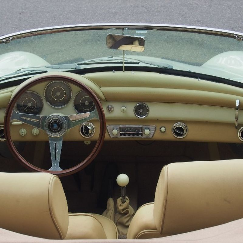 Porsche 356 Roadster at Cars and Coffee Vancouver Explorebc Vancouver Porsche 356 Roadster Porsche356 Summer Carsandcoffee Droptop  Carculture Travel Cream Travel Weissach Wanderlust Classic Classiccar Interior