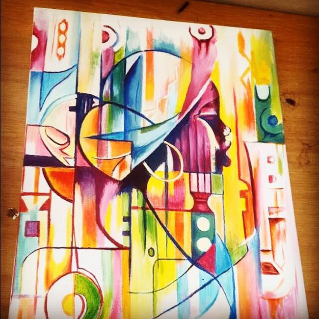 Painting Abstract Colour Flames SouthAfrican Artist Canvas Love Insanity Gift . Followme Zorba Woman