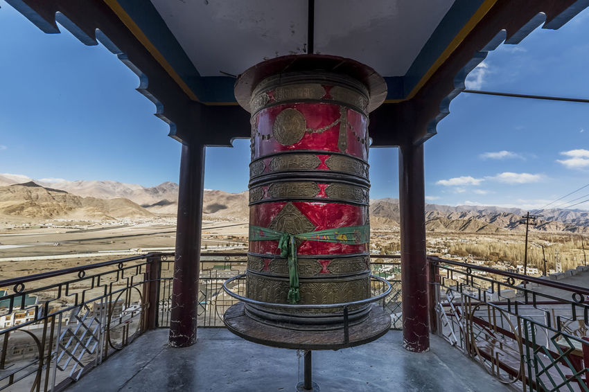 A wide angle view of prayer wheel in Spituk Monastery, Leh Architecture Beauty In Nature Blue Sky Buddha Buddhism Buddhist Temple Canon Canon_photos Canonphotography EyeEm Best Shots Incredible India Ladakh Landscape Leh Monastery Mountain Prayer Wheel Prayer Wheels Religion Religious  Religious Architecture Spirituality Travel Travel Destinations Travel Photography