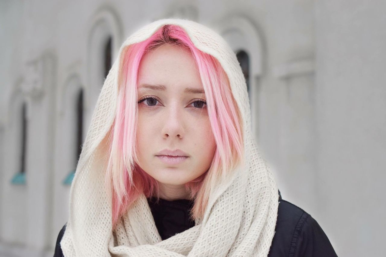 Exploring Style Focus On Foreground Headshot Young Women One Person Young Adult Real People Lifestyles Front View Long Hair Portrait Day Pink Color Dyed Hair Standing Leisure Activity Outdoors Close-up