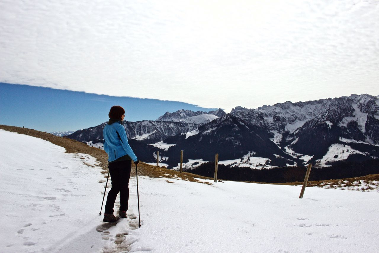 Snow One Person Full Length Winter Real People Mountain Cold Temperature Day Walking Hiking Beauty In Nature Women Sports Mountains Cloud - Sky Clouds And Sky Nature Brennkopf Walchsee Outdoors Nature Sky People