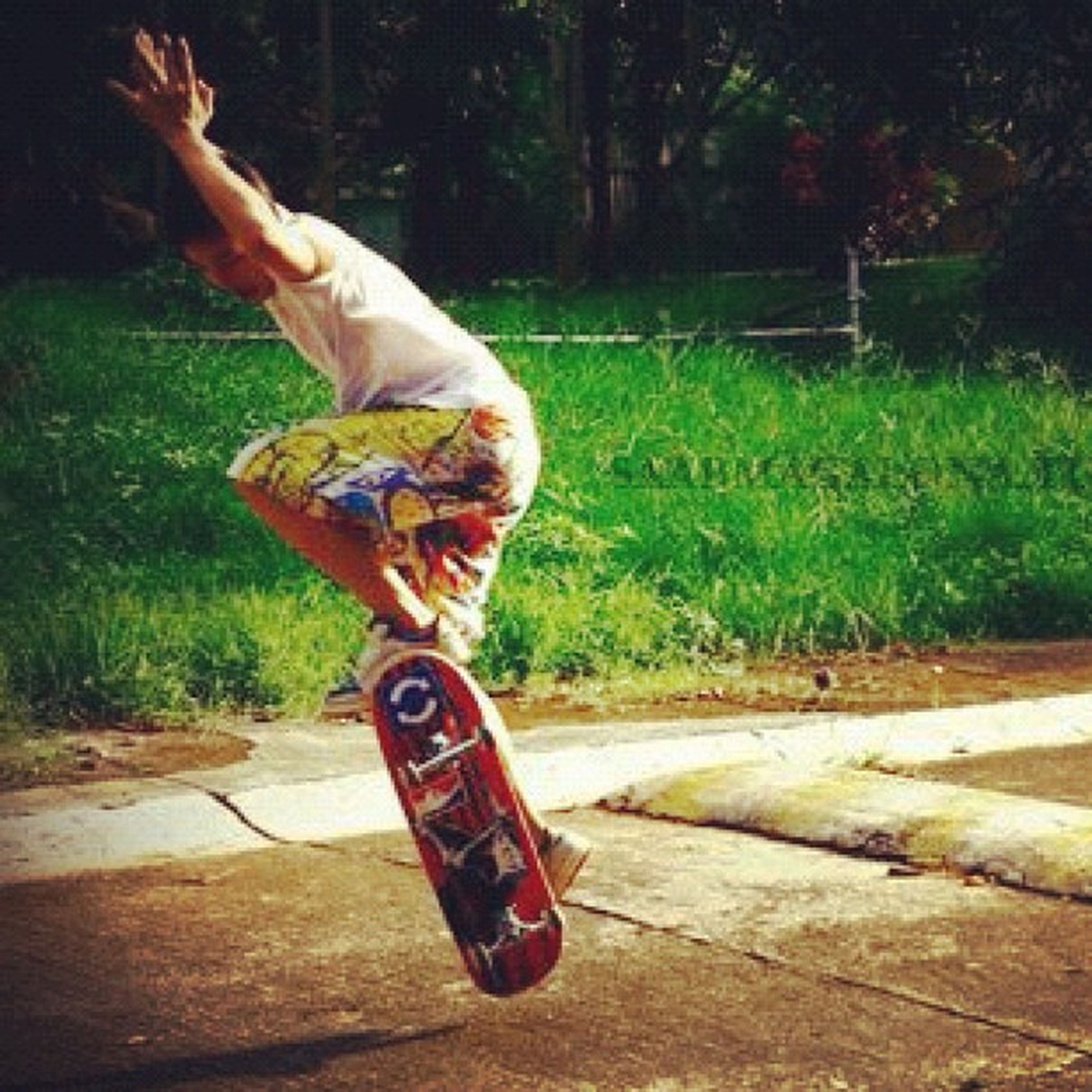 lifestyles, full length, leisure activity, holding, tree, casual clothing, motion, grass, jumping, childhood, sport, skill, person, side view, skateboard, outdoors, skateboarding