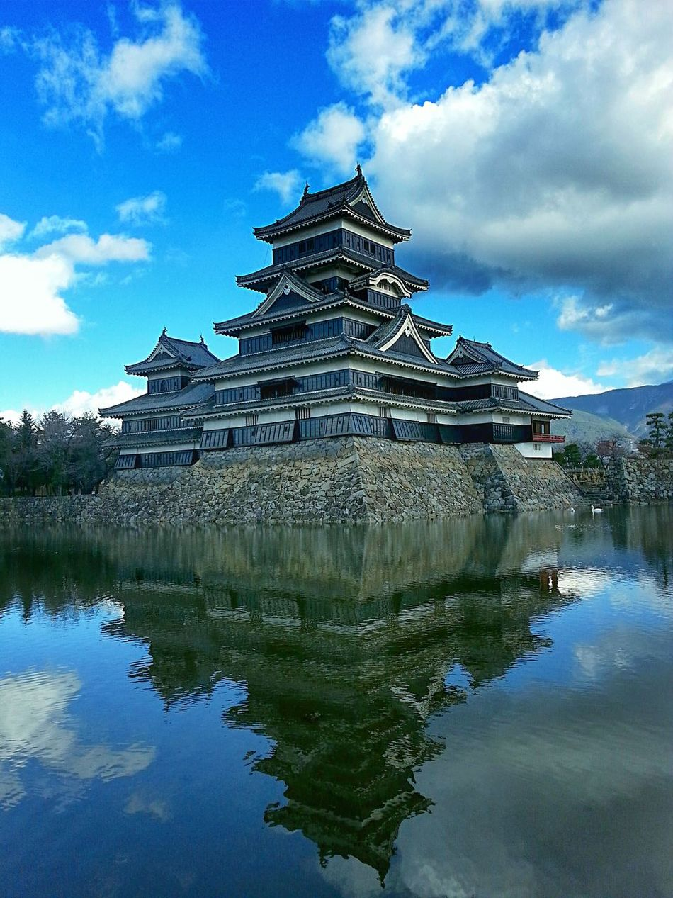 Matsumoto Castle reflection Ancient Architecture Architecture Built Structure Canal City Cool Day In Japan Façade Famous Place Historical Sights Japan Matsumoto Castle Matsumoto Castle / Japan Tourism Travel Photography Water Reflections