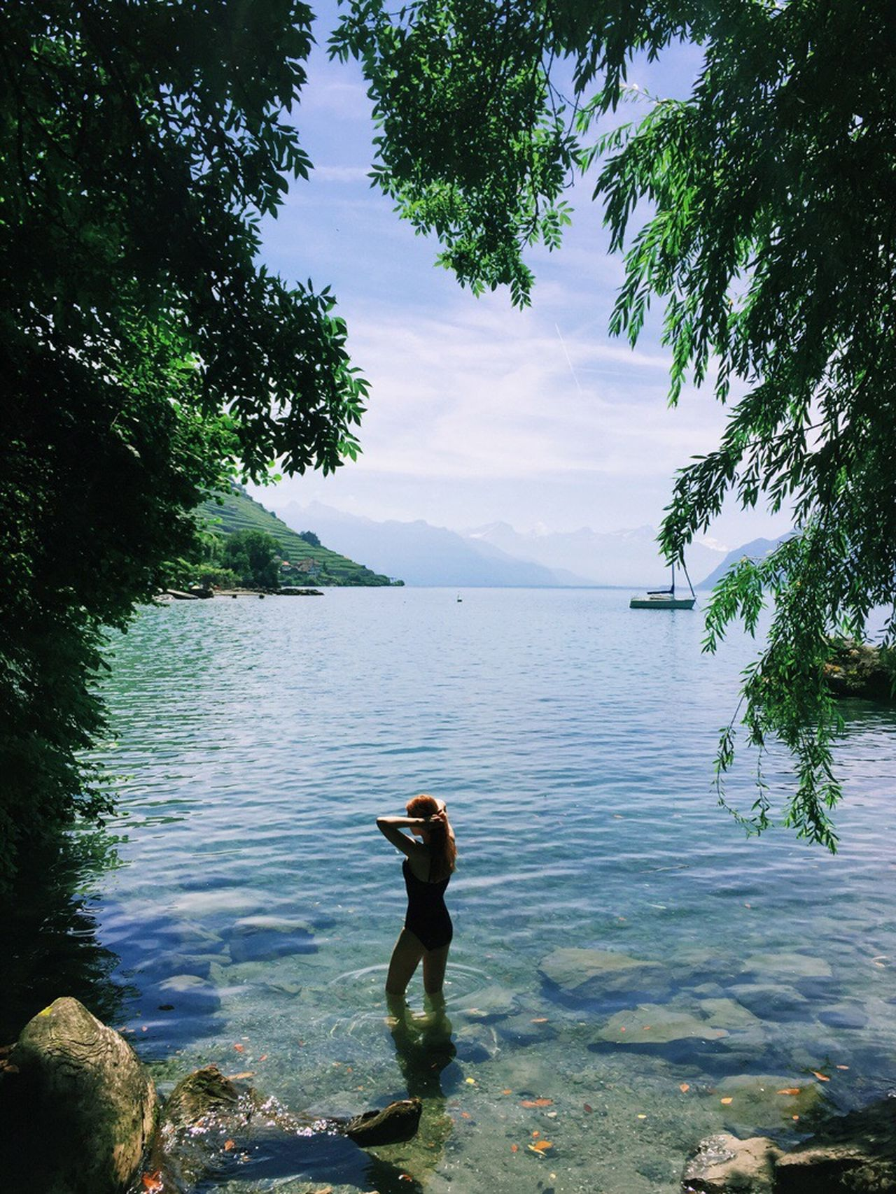 The Great Outdoors - 2017 EyeEm Awards Switzerland Water One Person Standing Tree Nature Lake Tranquil Scene Real People Beauty In Nature Tranquility Outdoors Day Scenics Sky Leisure Activity Side View Growth Photographing Men Girl Women Woman Swimming in Switzerland Neighborhood Map