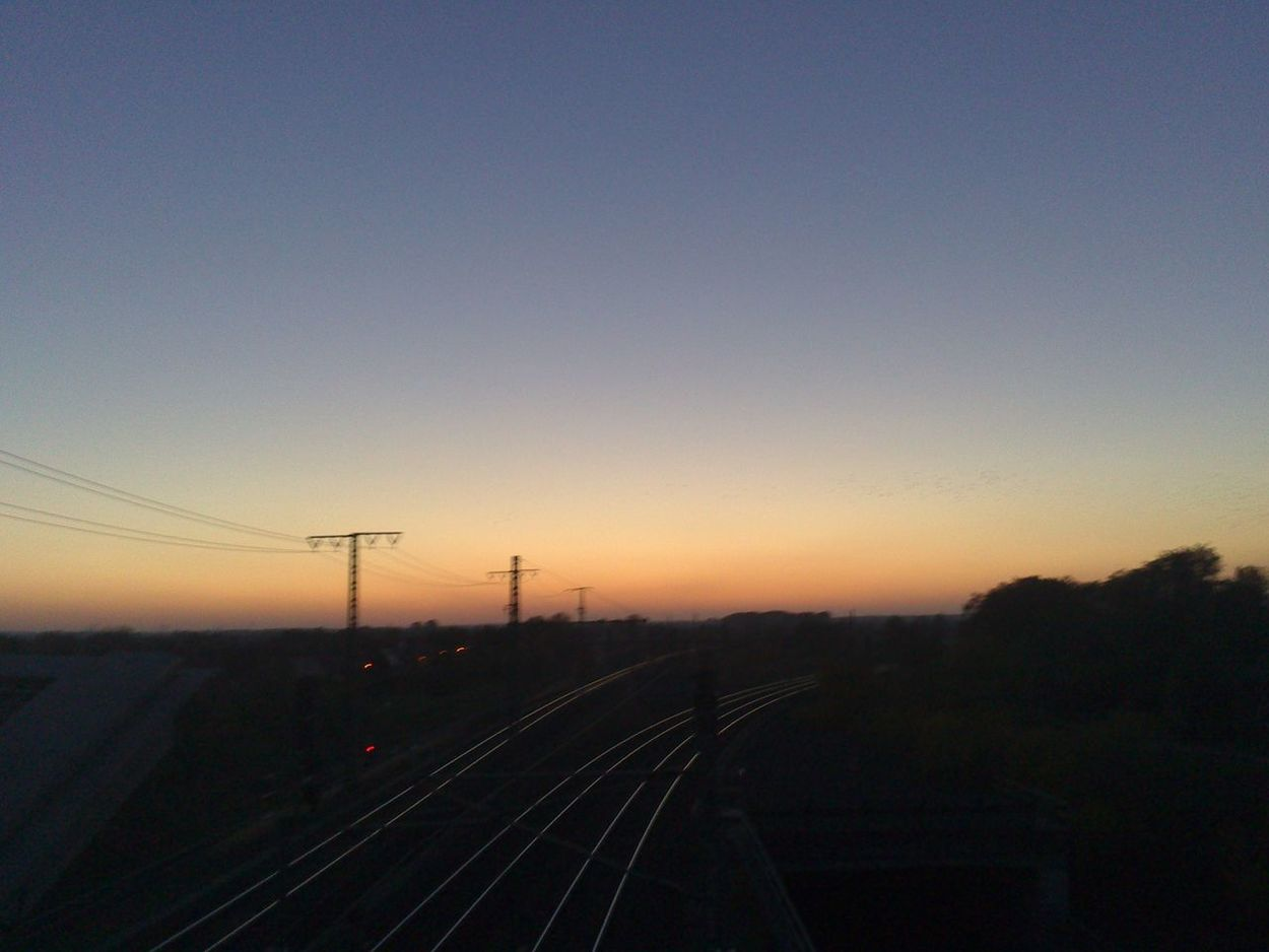 Sunset Sky Transportation Dusk Silhouette Outdoors No People Night Railway Germany Stendal Backgrounds Background