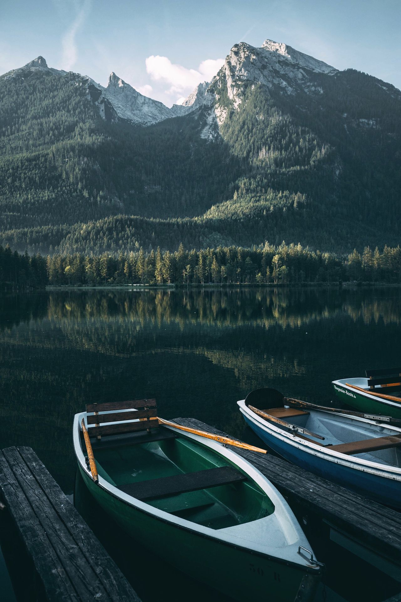 Green paradise. Mountain Water Nature Lake Transportation Nautical Vessel Mountain Range Mode Of Transport Beauty In Nature Boat Outdoors Scenics Tranquility Day Moored No People Sky Tree Bavaria Alps Germany