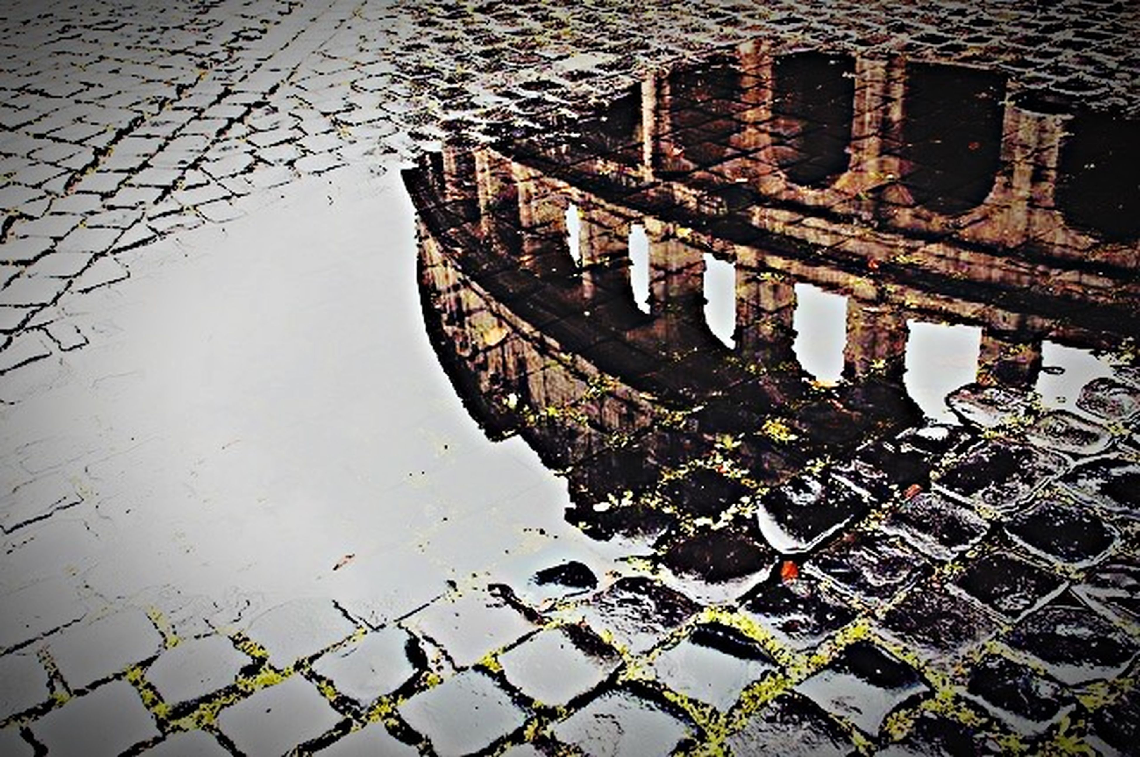 architecture, built structure, building exterior, water, high angle view, metal, day, outdoors, city, reflection, full frame, no people, building, pattern, canal, transportation, river, old, backgrounds, puddle