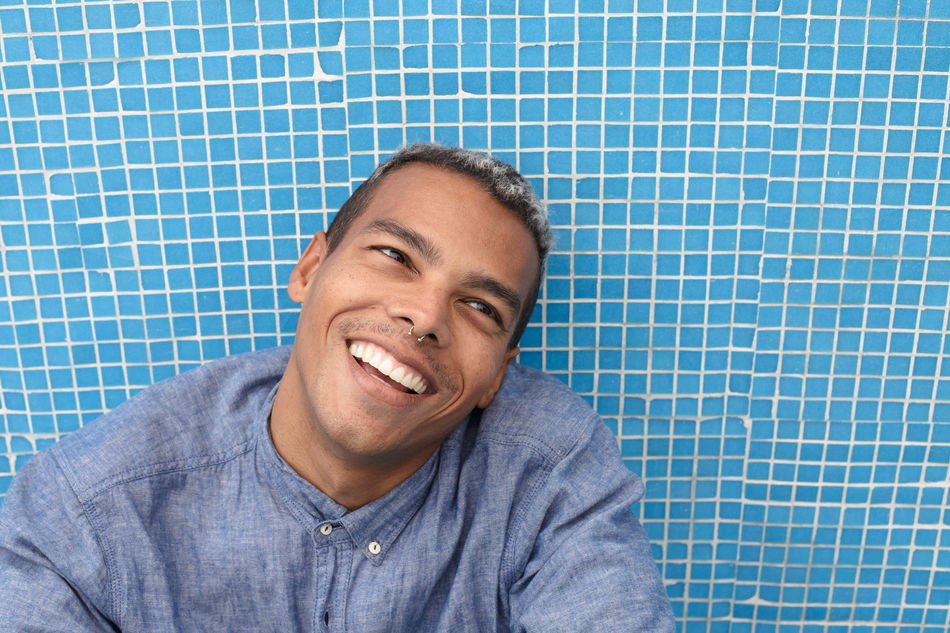 smile & be happy Adult Adults Only Beautiful People Blue Cheerful Close-up Day Facial Expression Happiness Happy Human Body Part Looking At Camera Males  Men One Man Only One Person Only Men People Portrait Positive Emotion Relaxation Smiling Young Adult