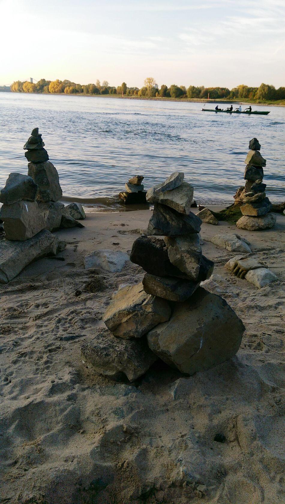 Beautiful Stones 😊 Rheinufer Cologne Sand Beach Water River Boat Sunshine Gooutandplay Creativity
