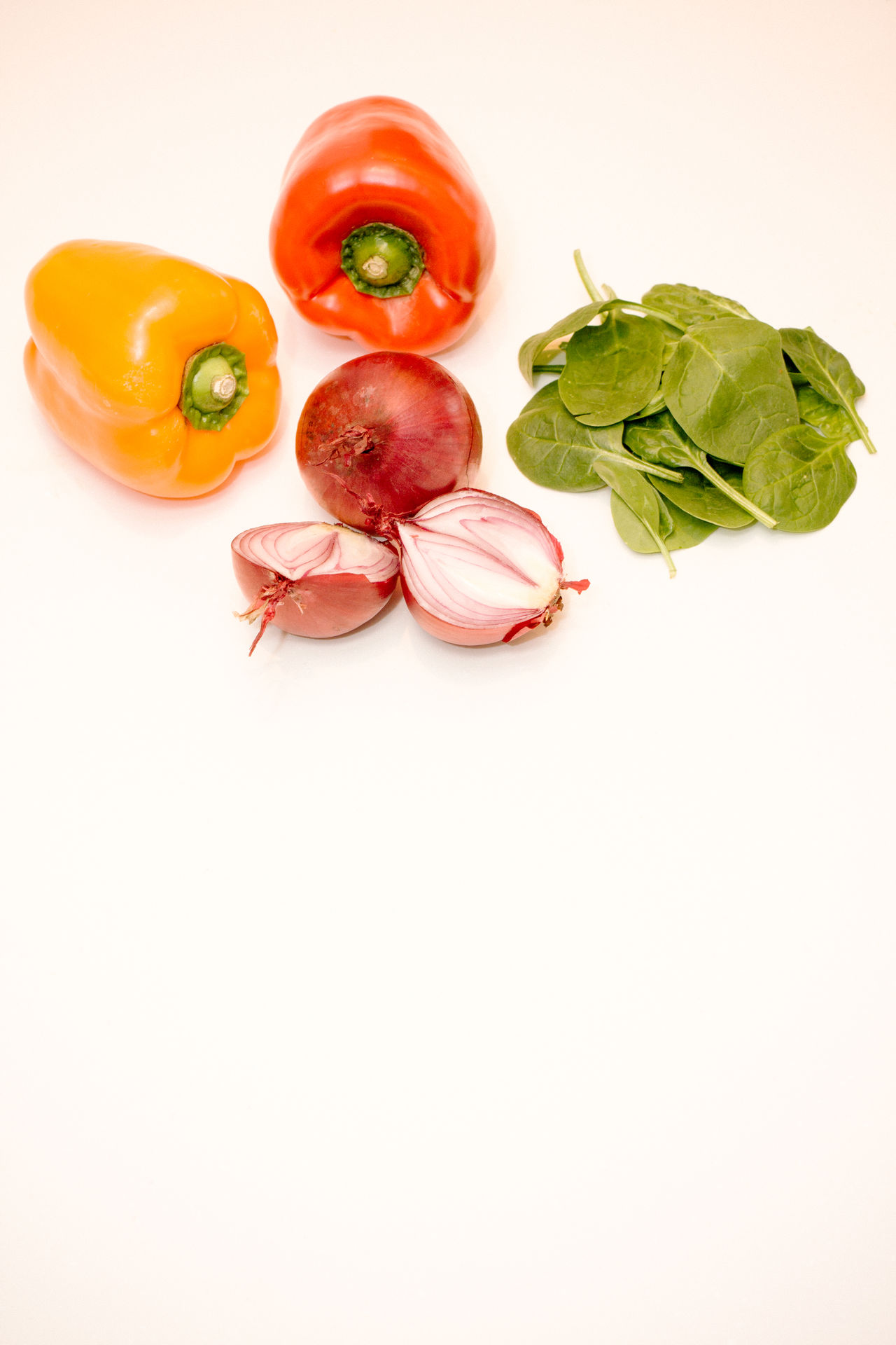 Bell Peppers Close-up Composition Food And Drink Freshness Healthy Eating Healthy Lifestyle Negative Space Organic Red Red Onion Ripe Simplicity Spinach Still Life White Background