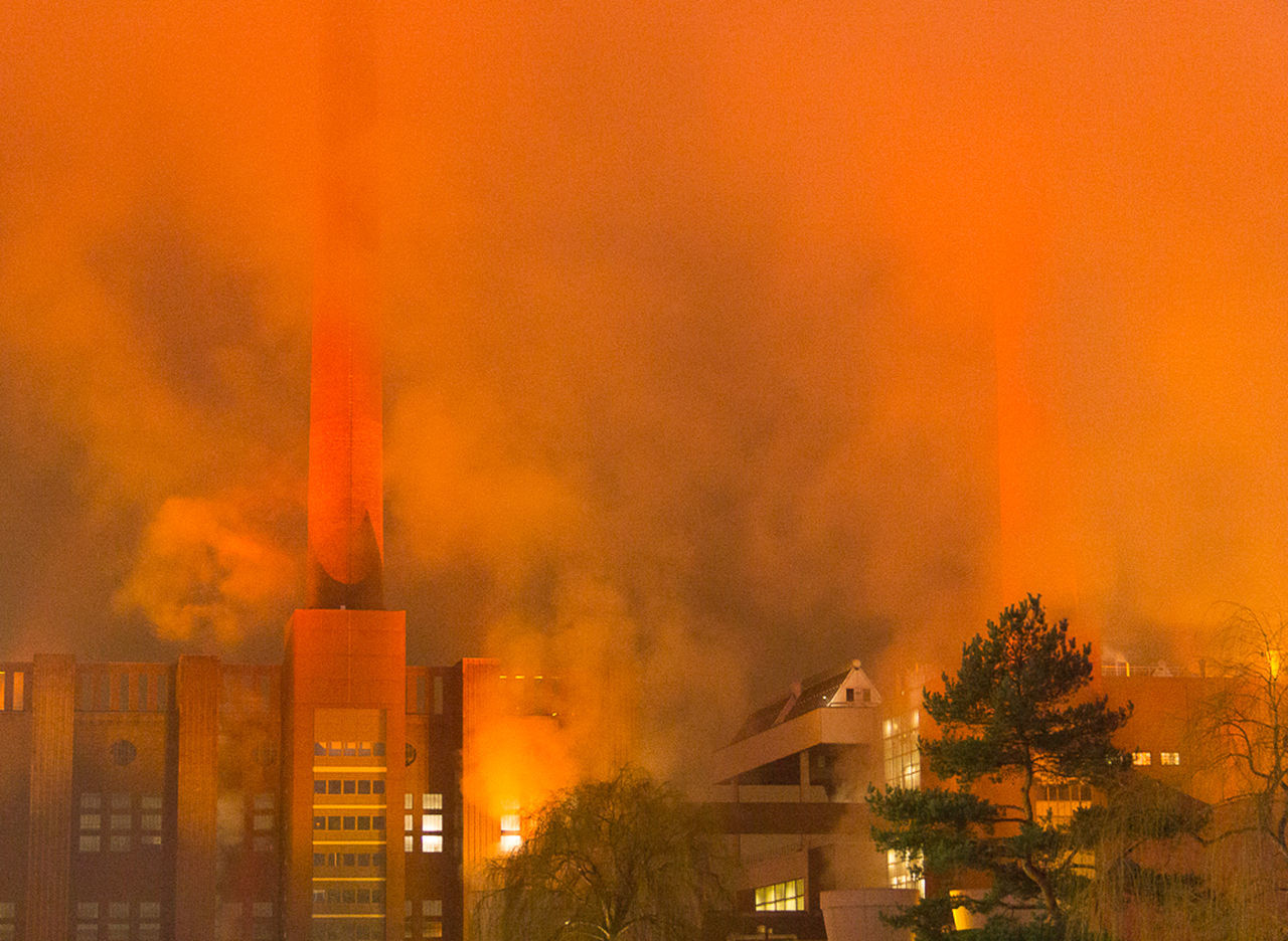 Architecture Building Exterior Industrial Building  Industrial Landscapes Industrial Photography Langzeitaufnahme Langzeitbelichtung Night Photography Nightphotography No People Orange Color Outdoors Smoke - Physical Structure Tree Urban Skyline