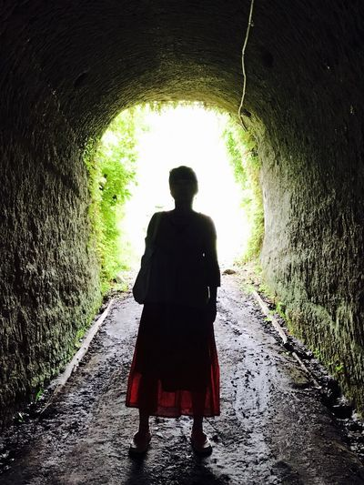 Breathing Space One Person Tunnel Rear View Light At The End Of The Tunnel Silhouette Day Standing Lifestyles Women