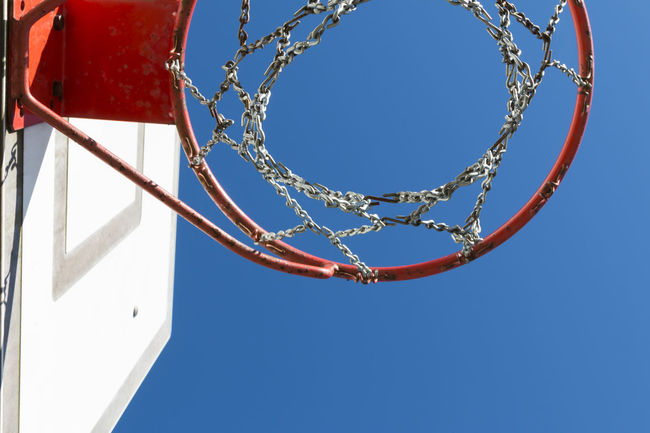 Basketball hoop on the schoolyard - Basket Basketball - Sport Basketball Hoop Blue Branch Clear Sky Day Deceptively Simple Directly Below Dramatic Angles Exceptional Photographs EyeEm Best Shots First Eyeem Photo Geometric Shape Geometric Shapes Hello World Looking Up Low Angle View Minimalism No People Simple Things In Life Simplicity Sport The Week Of Eyeem Walking Around