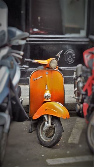 Day Land Vehicle Mod Motoscooter No People Orange Outdoors Paris Scooter Smallframe Taxi Transportation Vespa Yellow Taxi