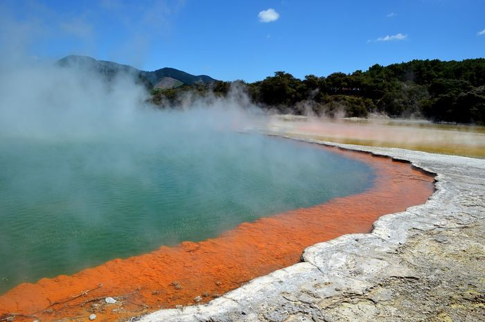 Rotorua Thermal Area New Zealand Rotorua  Wai O Tapu Orange Smoke - Physical Structure Geyser Nature Steam Geology Beauty In Nature Physical Geography Day Water Hot Spring Heat - Temperature No People Outdoors Scenics Erupting Sky Power In Nature