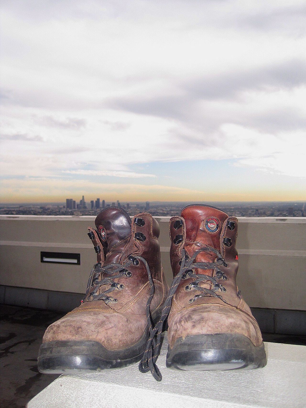 Adapted To The City Shoes Trekking Shoes Travel Old Shoes City View  Urban Skyline Pair Walker Walking Around L.A. Walking Around The City  White Sky
