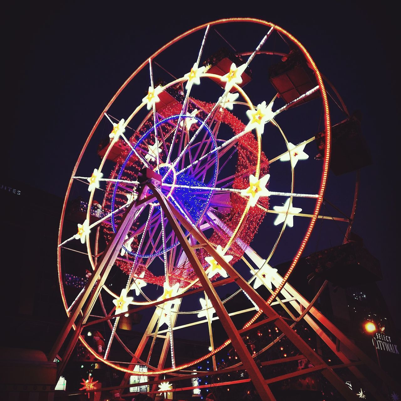 Ferris Wheel Night Illuminated Outdoors ArtWork Colorful Festival Season MerryChristmas Festivity Festive Mood Outdoor Photography Oneplus3 India