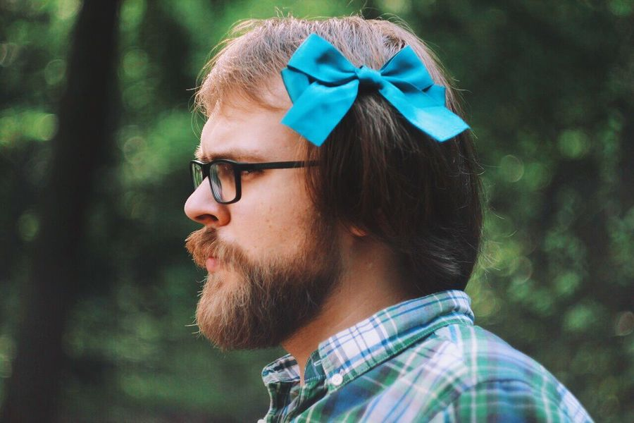 Me Blue Bow Bow-knot Close-up Day Forest Glasses Green Color Headshot Human Face Lifestyles Looking Away Person Plaid Shirt  Serious Shirt