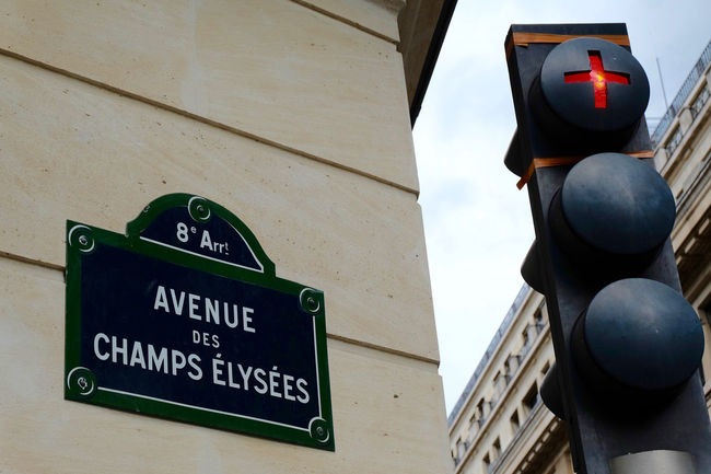 Champs Elysels, Paris Architecture Battle Of The Cities Building Exterior Close-up Communication Film Film Photography Information Sign Low Angle View No People Outdoors Paris Place Sign Signboard Sky Street Street Photography Streetphotography Symbol Text Western Script