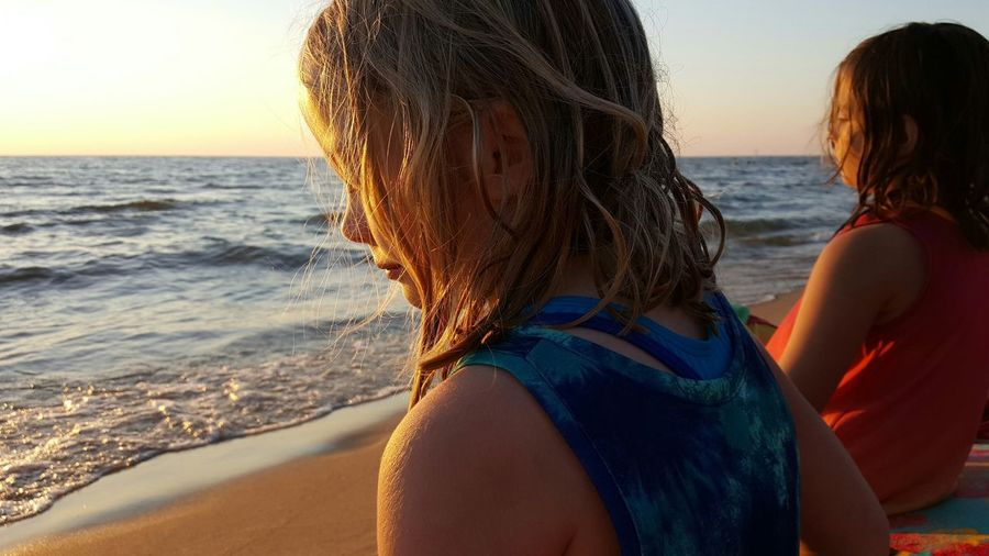 Beach Sunset People Girls Sisters Twins Profiles Lake Michigan Lakeshore Oval Beach Saugatuck Michigan Golden Hour Quiet Moments Vacation Summer Wet Hair Showcase July