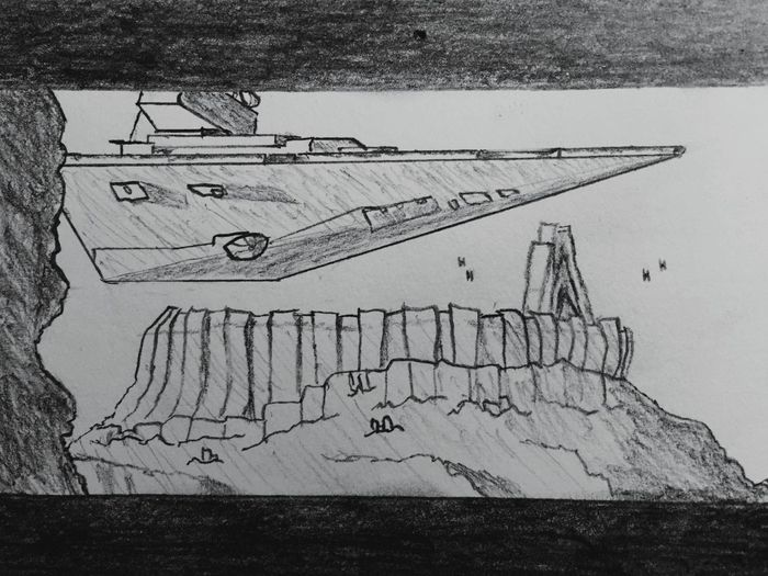 Drawing Sketch Starwars Star Wars Rogue One RogueOne Star Destroyer Creativity Drawing - Activity Blackandwhite Notecard Index Card