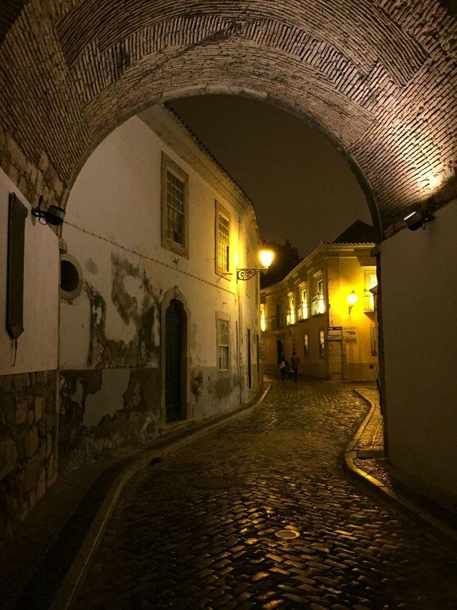 Faro Oldtown Gate Night Portugal