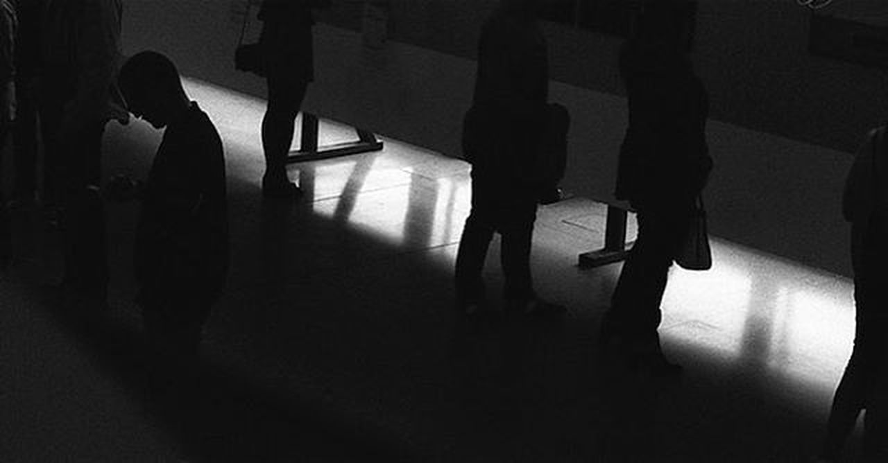 Watching Dark Exibition Exibition Hall Illuminated Leisure Activity Lifestyles Outline Sunlight Waiting, Ever So Quietly