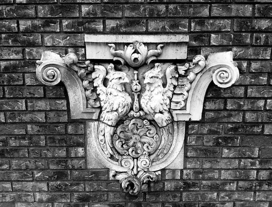 Gargoyles and Mementos from the old Pennsylvania Railroad The Secret Spaces Shades Of Grey Sculpture Sculpture Garden Day Full Frame Outdoors Close-up No People Brick Relief Black & White Monochrome Bnw Black And White Blackandwhite For The Love Of Black And White Public Garden Public Art Railroad Love Historical Railroad Station Rockefeller Greenhouse Mobile Photos Sculpture In The City