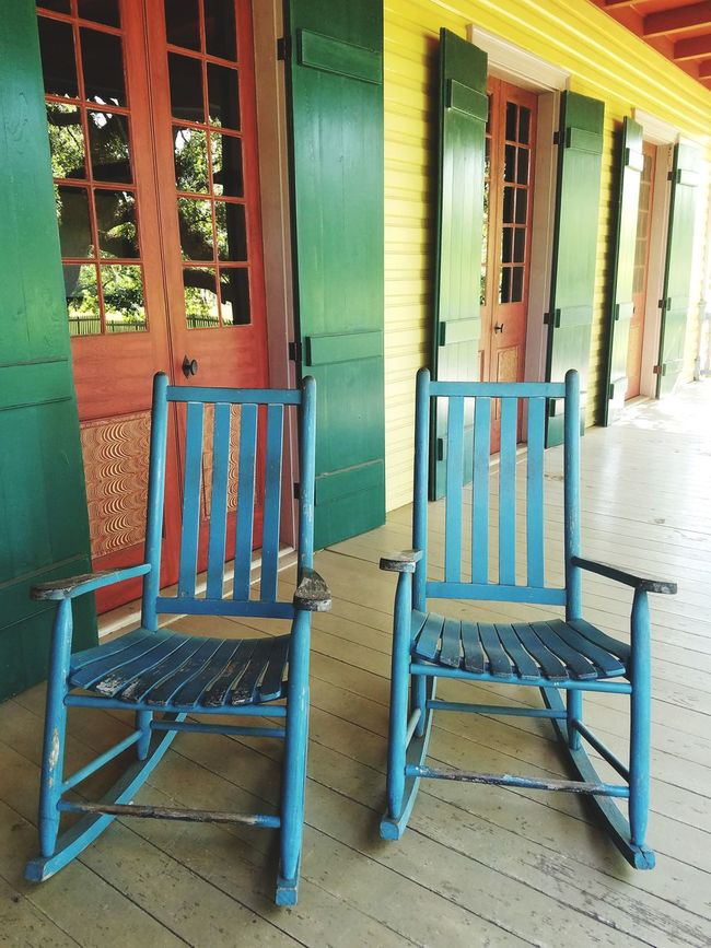 sit with me Postcode Postcards Travel Photography Chairs Colors Rainbow Doors Color Doors Rocking Chairs Deck Chair Vintage Patio Furniture French Door Patio Design at New Orleans, LA