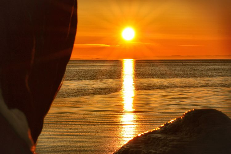Sunset at Mølen, Norway, Water Sea Horizon Over Water Sun Reflection Beauty In Nature Orange Color Idyllic Nature Outdoors Winter Amateurphotography