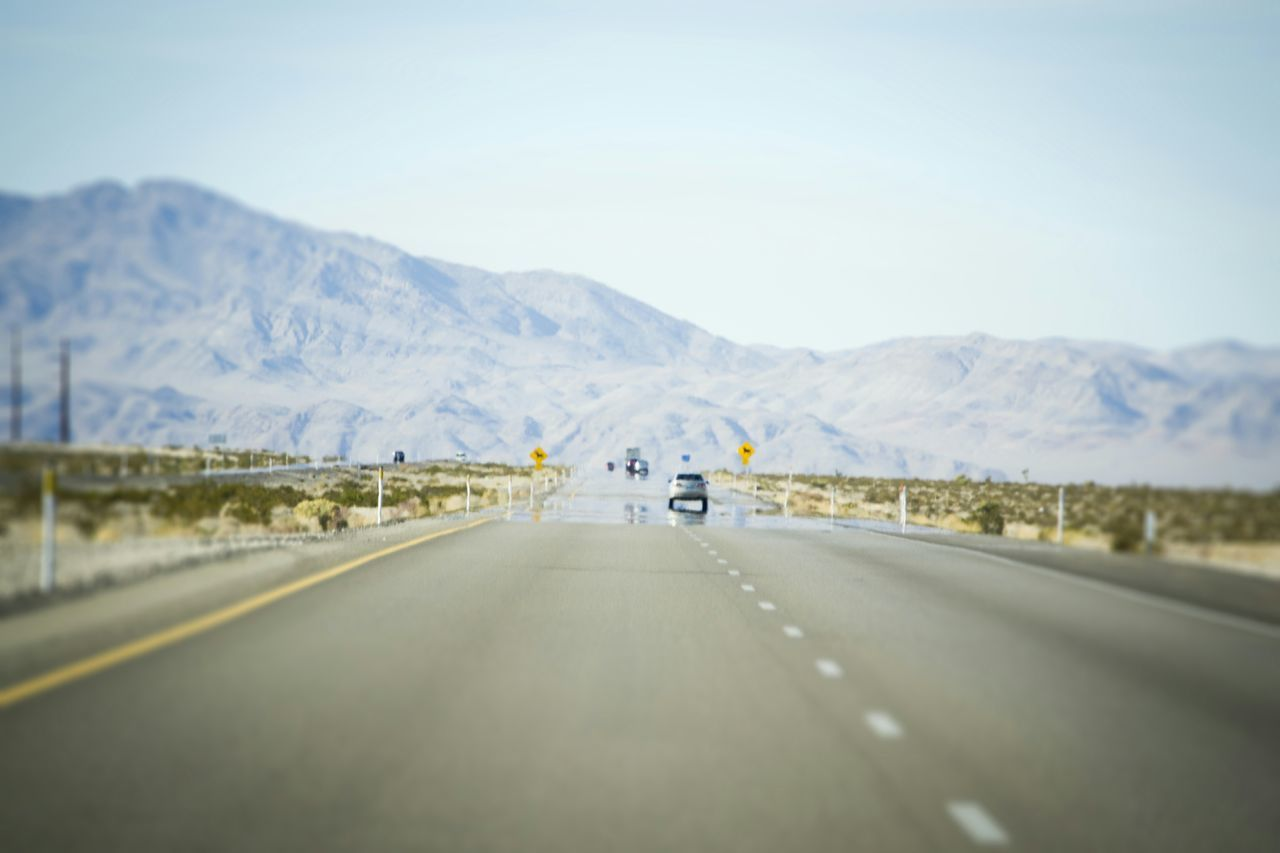 Highway Leading Towards Mountains