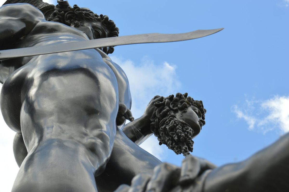 Sculpture Perseus Medusa Mythology Bluesky Sunshine Fantasy Different Angle Different Perspective