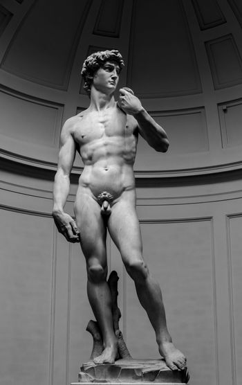 Galerie De Accademia Michelangelo Florence Italy Low Angle View Sculpture Statue Of David