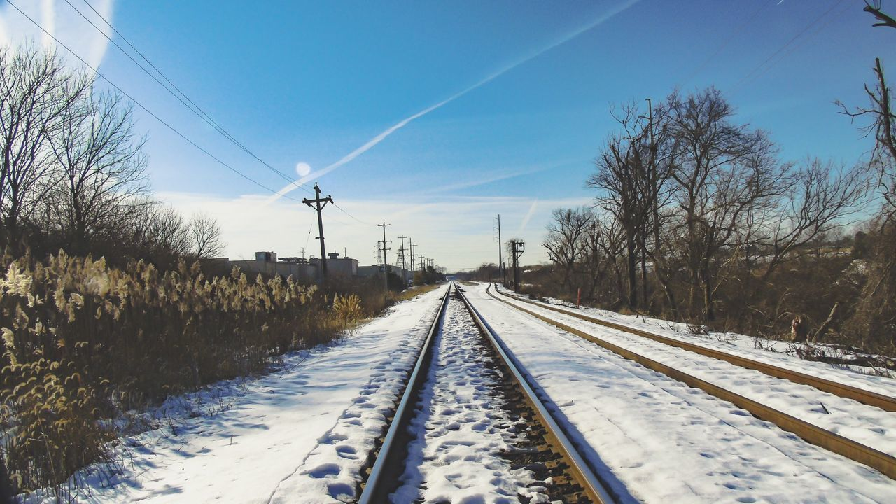 EyeEm Nature Lover Nature Winterscapes Distance Sunrays Sun Light Cold Temperature Showcase: February EyeEm Best Shots Snow ❄ Light And Shadow Light Train Tracks Desolate Railway Pattern Texture Shape Design Pattern Pieces Colorful