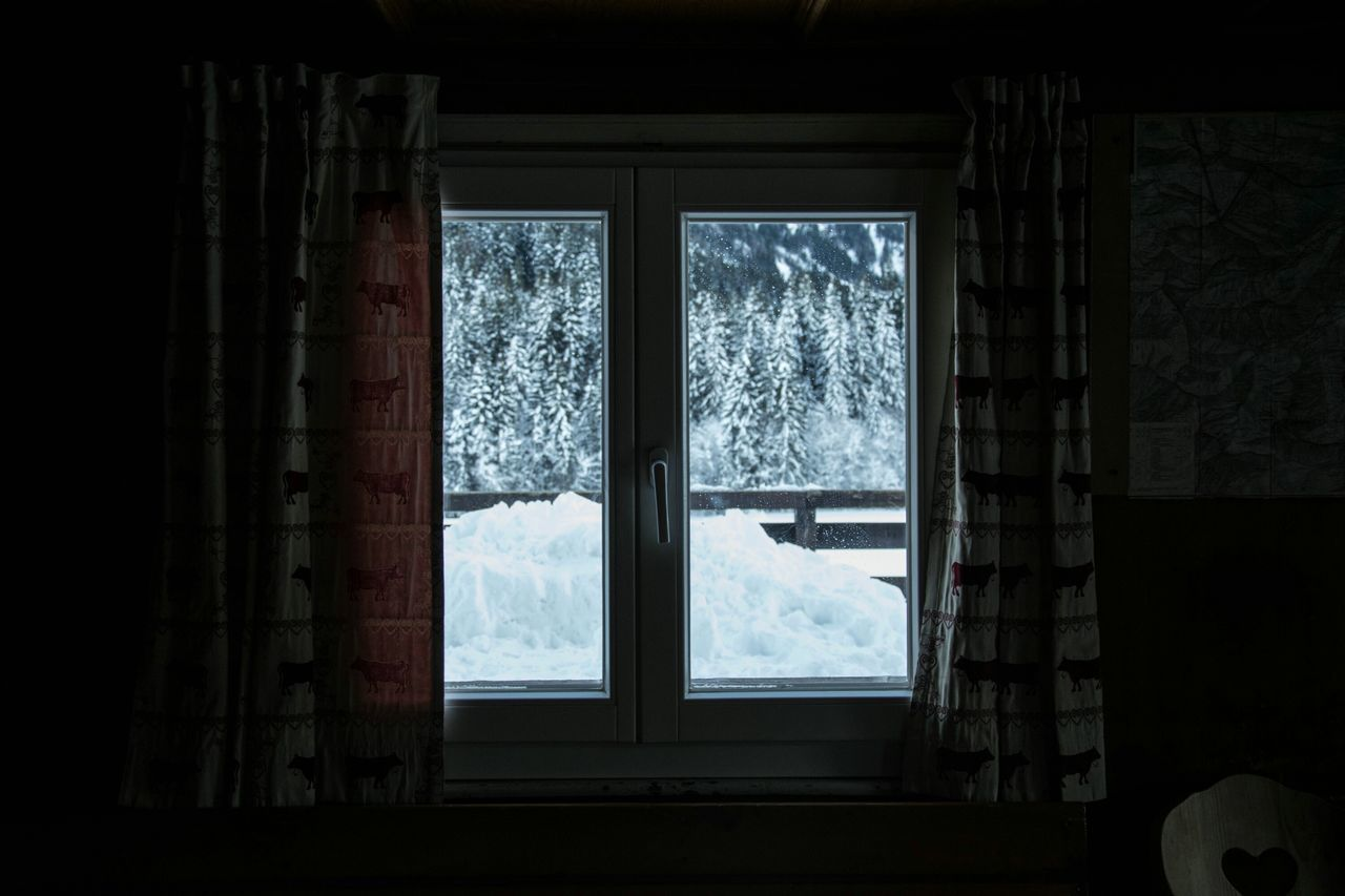 window, winter, snow, cold temperature, indoors, weather, no people, curtain, day, looking through window, home interior, nature, tree