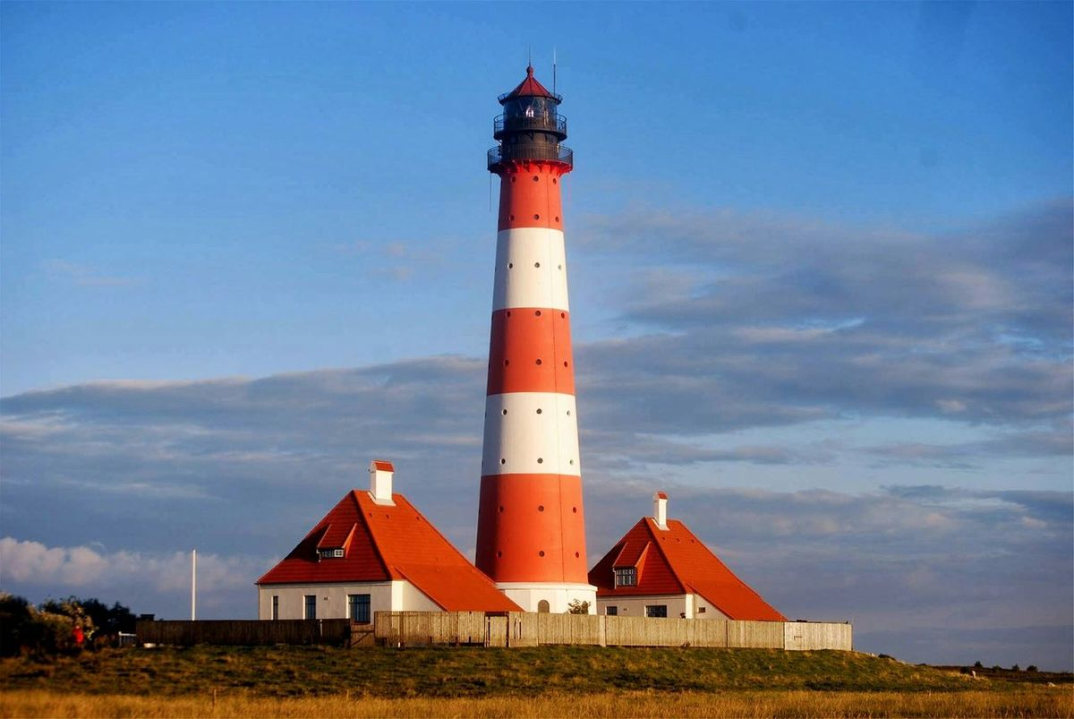 Leuchtturm Westerhever Leuchtturm Westerhever Leuchtturm Westerhever Nordsee Sonnenuntergang Sonne Nordfriesland Leuchtfeuer Lighthouse Old Lighthouse