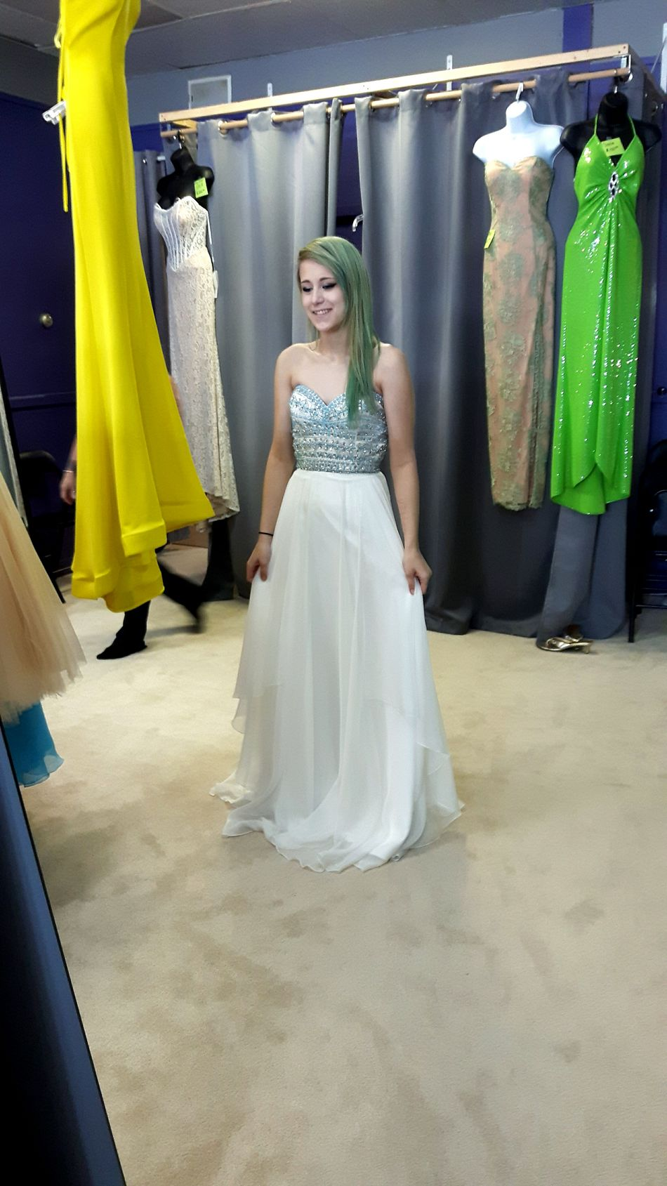 Fashion Only Women Fitting Room Adult Boutique Sparkly Blue Happy Prettygirl Girls Beauty Beautiful Grad 2k17 Graduation Prom Whitedress Life Events Winter Mesmerizing Awesome Greenhair BlueHair Pretty Smile