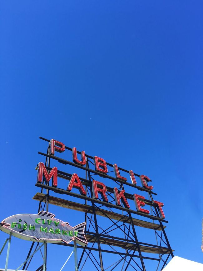 Sign Pike Place Market Seattle Blue Sky