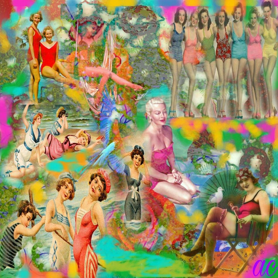 BATHING BEAUTIES Colorsplash Collageartwork Color Explosion Collageofthedaycollage Vibrant Color