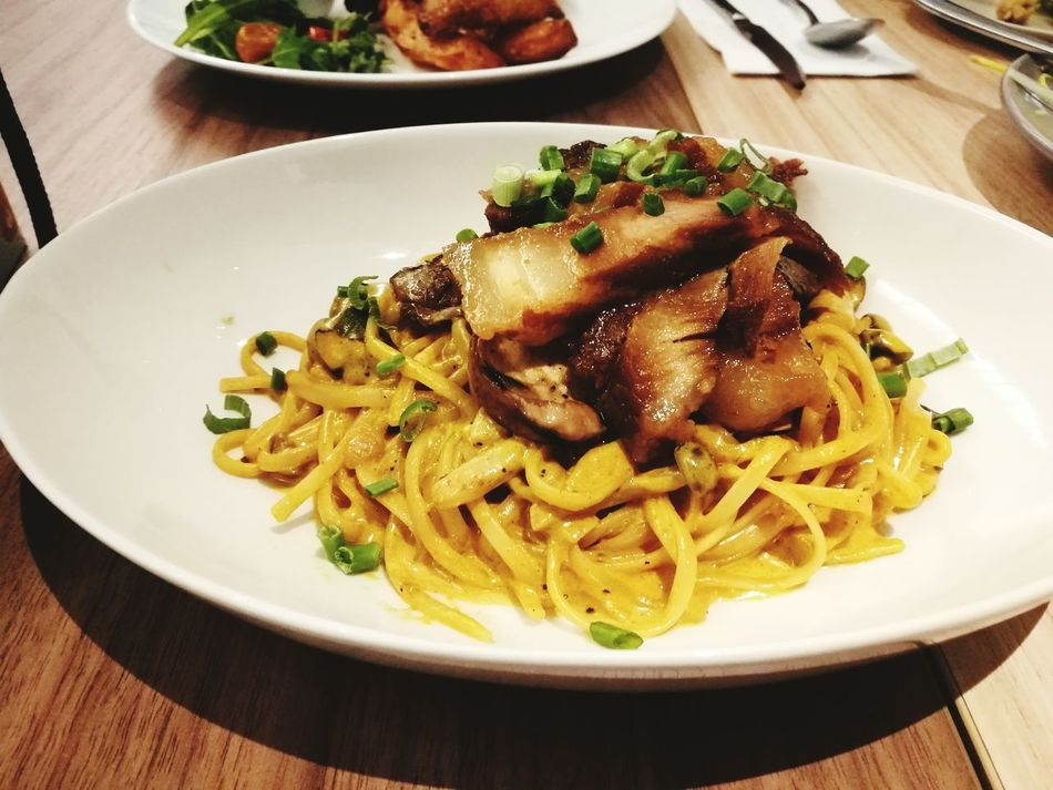 Pasta Curry Pasta Char Siew Food