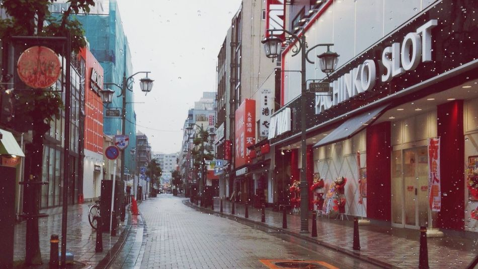 Building Exterior Architecture Built Structure Red City The Way Forward Outdoors Day Road Men Snowing Japan Pachinko The City Light