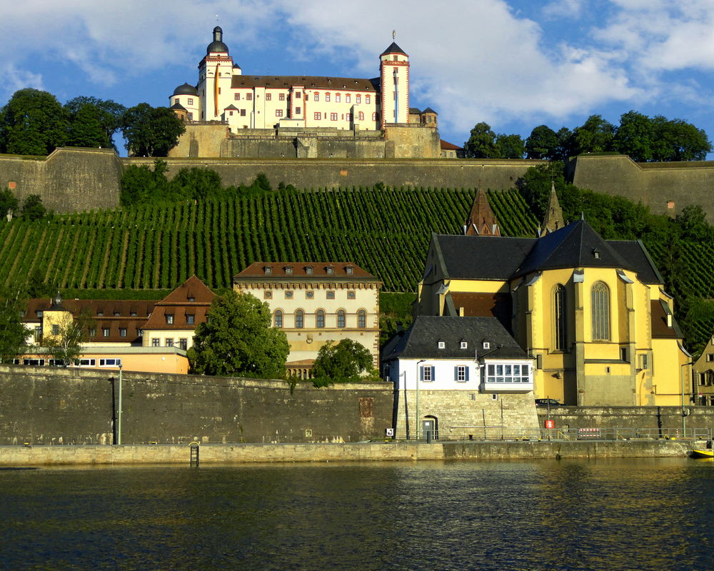 View of the Marienberg Fortress, a prominent landmark on the left bank of the Main river in Würzburg, in the Franconia region of Bavaria, Germany Architecture Building Exterior Built Structure City Clock Clock Tower Day Fort Fortress Germany Marienberg No People Outdoors Sky Travel Destinations