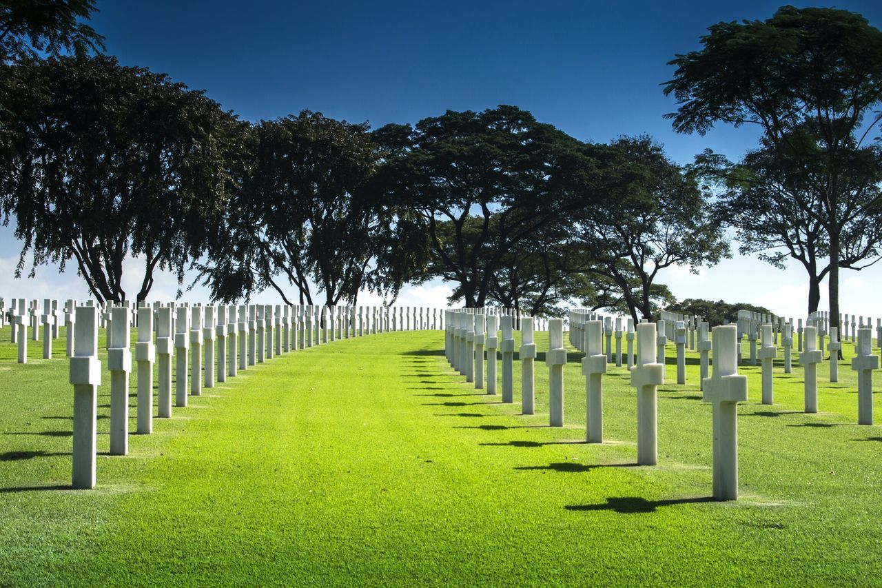 crosses on a curve. Tombstone Cemetery Memorial Tree In A Row Respect War Memorial Travel Destinations Sunlight No People History Grave Grass My Year My View