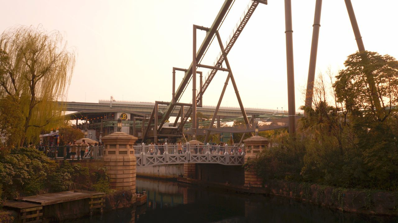 Extreme Rides. Tree Architecture Built Structure Bridge - Man Made Structure Water Transportation River Nature City Connection Outdoors Sky No People Architecture Sunset_collection Adapted To The City EyeEmNewHere Roller Coaster Adrenaline Junkie